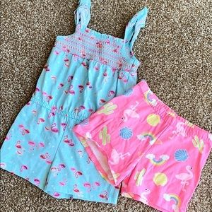 Flamingo set- Romper and Shorts